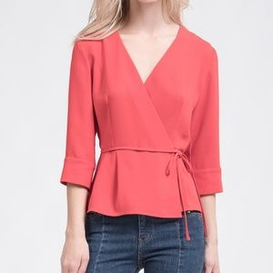 J.O.A. Red Wrap 3/4 Sleeve Blouse Large